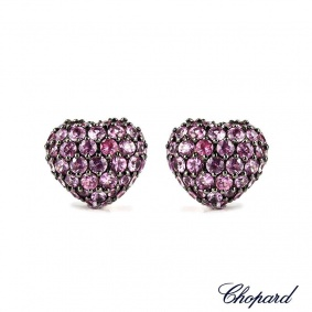 Chopard 18k White Gold Sapphire Heart Earrings 83/4203-1010